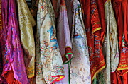 Traditional Clothing Framed Prints - Row of hanged traditionnal vietnamese clothes Framed Print by Sami Sarkis