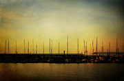 Sail Boats Posters - Row of Masts in the Morning Sky Poster by Lisa Holmgreen