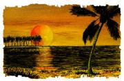 Setting Mixed Media Prints - Row of Palm Trees Print by Michael Vigliotti