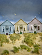 Charming Cottage Posters - Row of Pastel Colored Beach Cottages Poster by Jill Battaglia