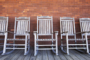 Empty Chairs Posters - Row of Rocking Chairs Poster by Skip Nall