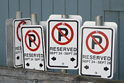 No Parking Prints - Row Of Traffic Signs Print by Marlene Ford
