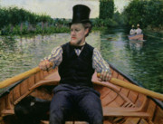 Punting Framed Prints - Rower in a Top Hat Framed Print by Gustave Caillebotte