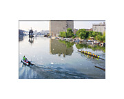 Rowers Posters - Rowers on the Milwaukee River Poster by Geoff Strehlow