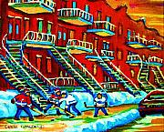 Montreal Buildings Painting Posters - Rowhouses And Hockey Poster by Carole Spandau