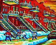Rowhouses And Hockey Print by Carole Spandau