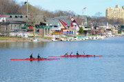Row Digital Art - Rowing Along the Schuylkill River by Bill Cannon
