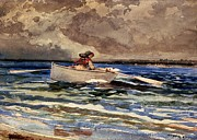 New England Ocean Painting Posters - Rowing at Prouts Neck Poster by Winslow Homer