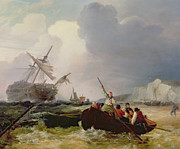 Docks Paintings - Rowing Boat Going to the Aid of a Man-o-War in a Storm by George Chambers
