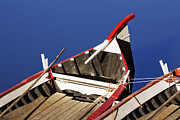 Docked Boats Prints - Rowing Boats Moored in Arno River Print by Jeremy Woodhouse
