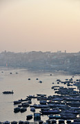 India Metal Prints - Rowing Boats On Ganges River Metal Print by Jessica Solomatenko