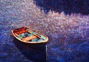 Painted Mixed Media - Rowing dinghy in Maine waters by Bryan Allen