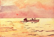 Watercolors Posters - Rowing Home Poster by Winslow Homer