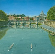 River Painting Originals - Rowing on the Tiber Rome by Richard Harpum