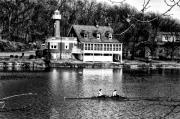 Sculling Posters - Rowing Past Turtle Rock Light House in Black and White Poster by Bill Cannon