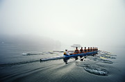 Rowing Team On Lake In Early Morning Fog Print by Nick Wilson