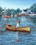 Village Prints - Rowing to Rockport Print by Richard De Wolfe