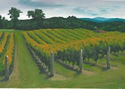 California Vineyard Paintings - Rows by DC Decker