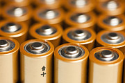 Batteries Posters - Rows of AA Batteries Poster by Bryan Mullennix
