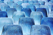 Meeting Photo Prints - Rows of blue chairs Print by Carlos Caetano