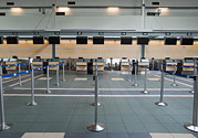 Visual Aid Prints - Rows Of Closed Check In Desks Print by Marlene Ford