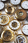 Analog Metal Prints - Rows Of Pocket Watches Metal Print by Garry Gay