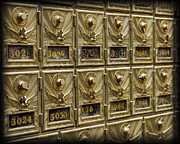 Mail Box Metal Prints - Rows of Post Office Mailboxes with Combination Locks and Brass o Metal Print by ELITE IMAGE photography By Chad McDermott
