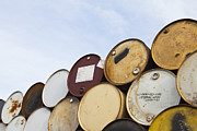 Stored Metal Prints - Rows of Stacked Barrels Metal Print by Paul Edmondson