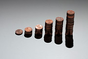 Coin Prints - Rows Of Stacks Of Five Cent Euro Coins Increasing In Size Print by Larry Washburn