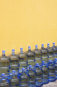 Jugs Photo Posters - Rows of Water Jugs Poster by Jeremy Woodhouse