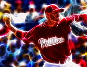 Roy Halladay Posters - Roy Halladay Magic baseball Poster by Paul Van Scott