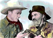 Film Star Mixed Media Prints - Roy Rogers and Gabby Hayes Print by Charles Shoup