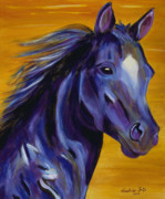 Horses Posters Painting Posters - Royal Blue Poster by Andrea Folts