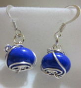 Colorful Contemporary Jewelry - Royal Blue Wire Wrapped Earrings by Janet  Telander