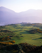 Club Scene Framed Prints - Royal County Down Golf Club In Front Framed Print by Chris Hill