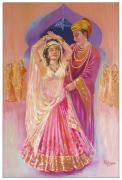 Jewellery Drawings Framed Prints - Royal Courtship Framed Print by Kalpana Talpade Ranadive