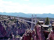 Colorado Mountains Framed Prints Posters - Royal Gorge overlook Poster by Barkley Simpson