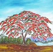 Maria Soto Robbins Art - Royal Poinciana Lake by Maria Soto Robbins