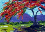 Maria Soto Robbins Art - Royal Poinciana Palette Oil Painting by Maria Soto Robbins