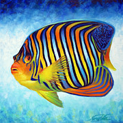 Angelfish Paintings - Royal Queen Angelfish by Nancy Tilles