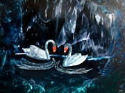 Swans... Paintings - Royal Swans by Moe Hussain