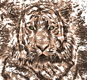 Wild Life Posters - Royal Tiger in Digital Art Poster by Mario  Perez