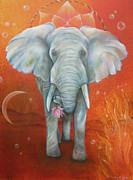 Dream Catcher Paintings - Royal White Elephant by Sundara Fawn