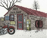 Shack Drawings Prints - Roys Cycle Shack Print by Mike OBrien