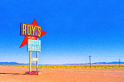 Desert Digital Art Posters - Roys Motel and Cafe Poster by Wingsdomain Art and Photography