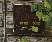 Egg Tempera Prints - Royston Fertilizer Sign Print by Peter Muzyka