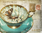 Vintage Teacup Prints - Rsvp Print by Marcie Adams Eastmans Studio Photography