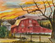 Judy Loper Prints - Rt 66 Barn outside Davenport Oklahoma Print by Judy Loper