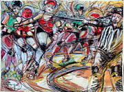 Quad Mixed Media Prints - Rubber City Roller Girls Print by Terry Brown
