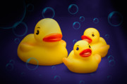 Bubbles Posters - Rubber Duckies Poster by Tom Mc Nemar